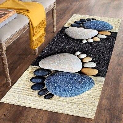 Else Gray Black Pebble Blue Foot Stones 3d Print Non Slip Microfiber Washable Long Runner Mats Floor Mat Rugs Hallway Carpets