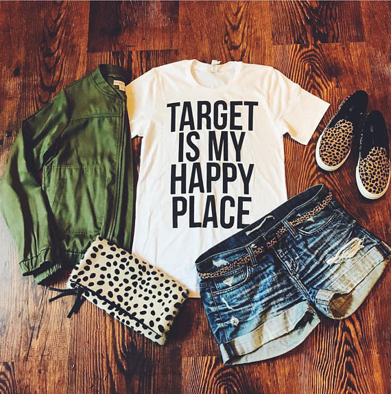 4ca4d571a1 OKOUFEN women happiness unisex mens clothing Target Is My Happy Place  T-Shirt ashion hipster summer graphic Tumblr top tee black