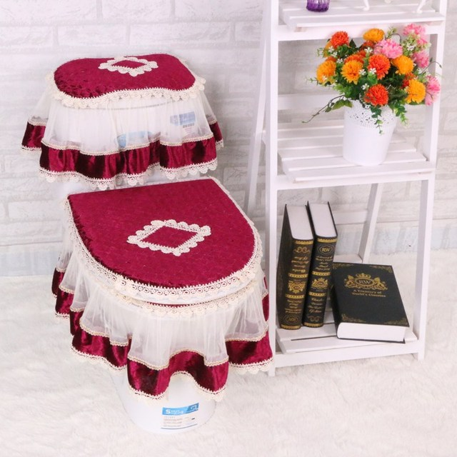 three piece set lace toilet seat cover u shaped overcoat wc cover home decor