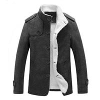 New Winter Jacket For Men Stand Collar Long Overcoat Thick Warm Wool Line Jackets Male Casual