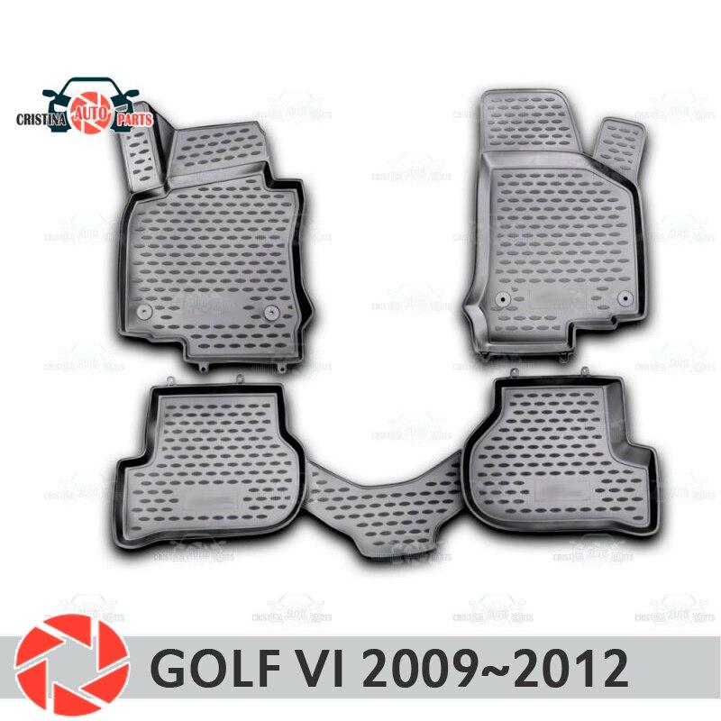 Tapis de sol pour Volkswagen Golf 6 2009 ~ 2012 tapis antidérapants en polyuréthane protection contre la saleté accessoires de style de voiture intérieure