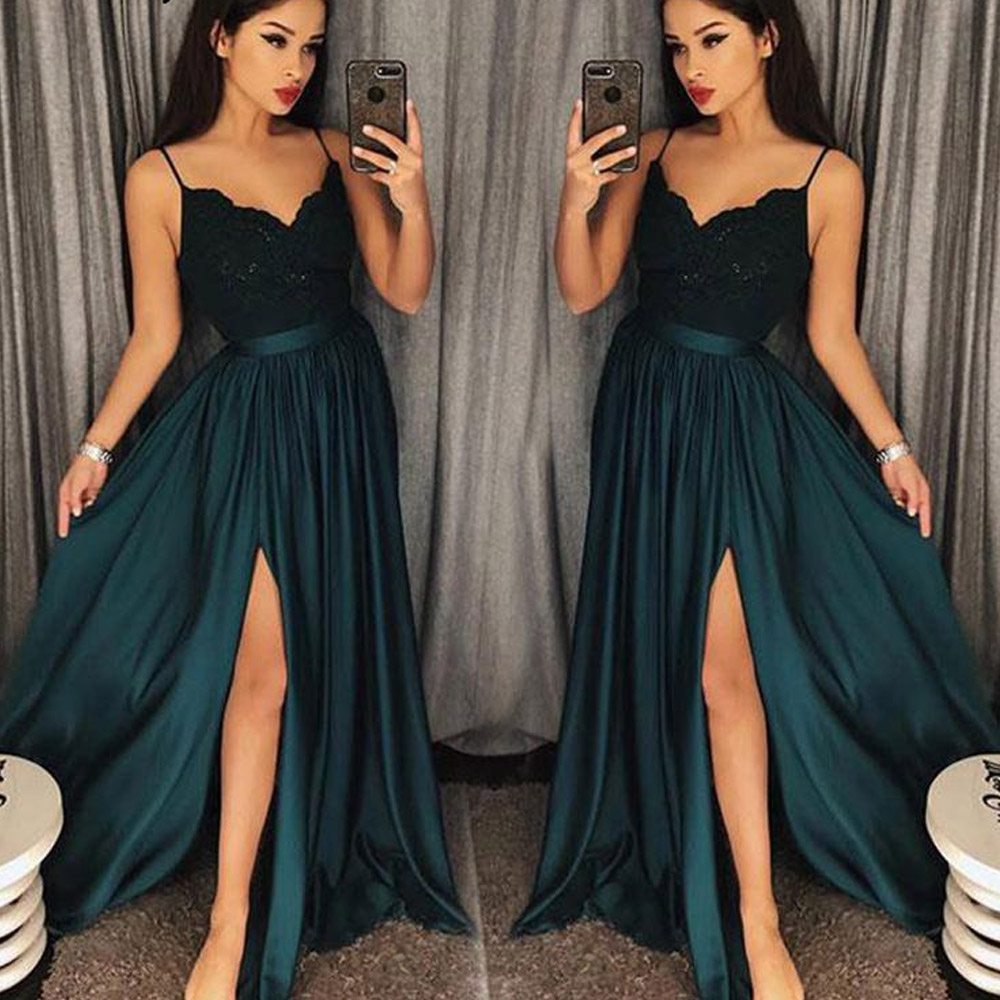 Teal Sexy Slit   Prom     Dresses   2019 Spaghetti Straps Long Party Gown vestidos de graduacion Lace Bodice Burgundy   Prom     Dress