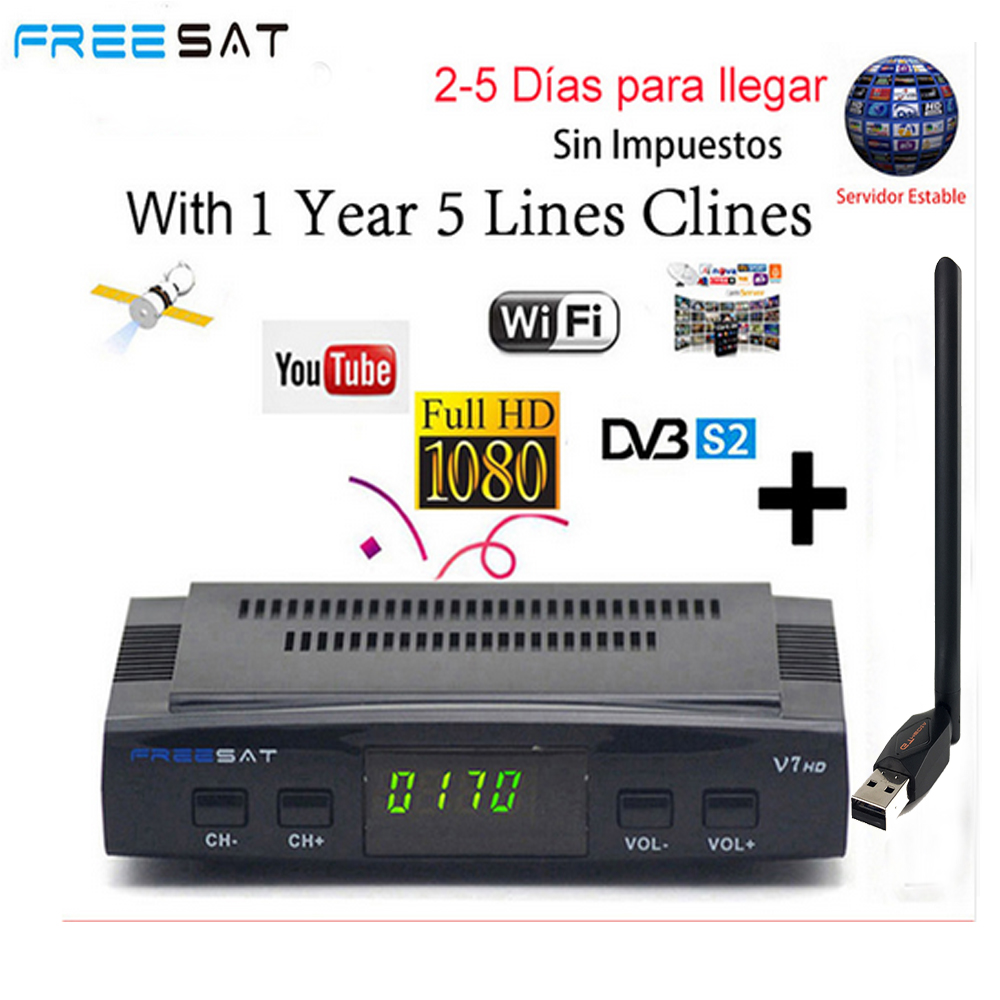 FREESAT V7 HD Receptor DVB-S2 Satellite TV Receiver Decoder With 7 LINES EUROPE Spain CCCAM + USB WIFI support powervu bisskey