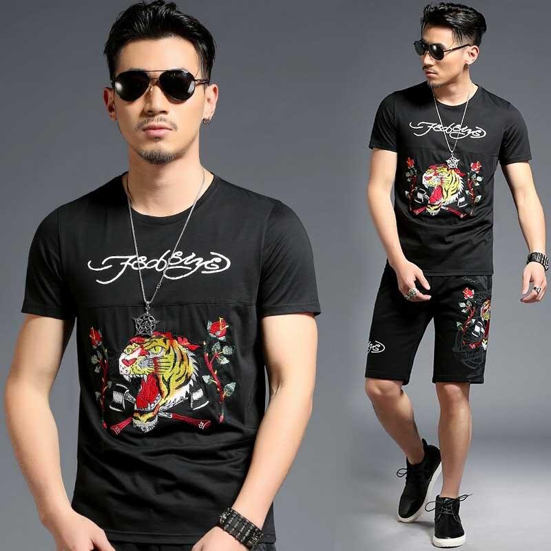 Été 2 pièces ensemble t-shirt court ensemble hommes ensembles courts survêtement de haute qualité tigre broderie vêtements pour hommes ensemble survêtement - 6