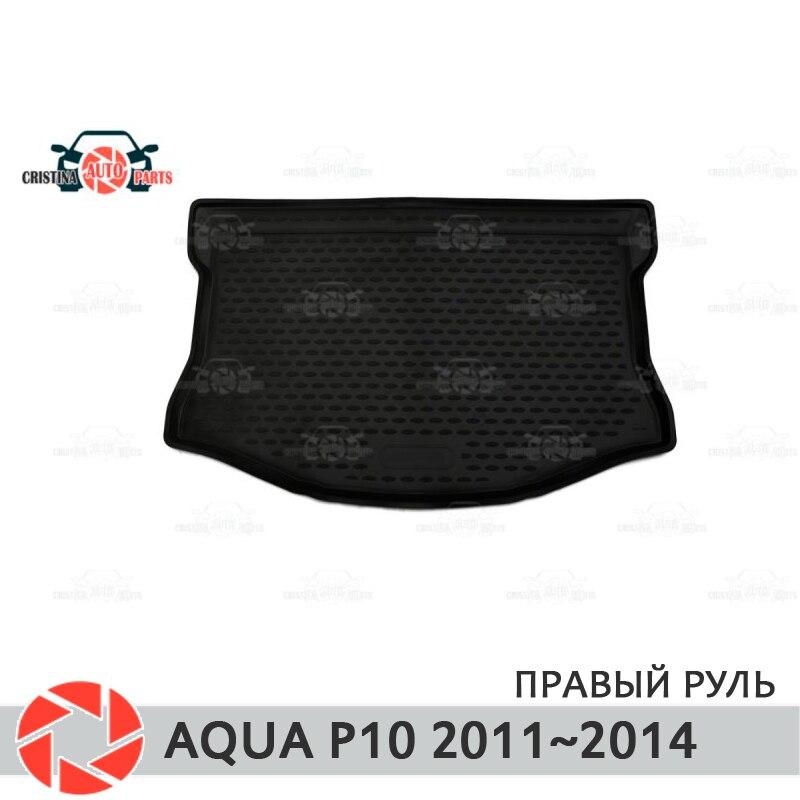 Mat tronco para Toyota Aqua P10 2011 ~ 2014 maletero alfombras de piso antideslizante poliuretano tierra Protección interior del maletero de coche estilo