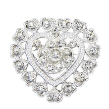 Fiore Del Cuore Con Strass Argento Placcato Spilla Pin Wedding Bridal Spilla Breastpin(China)