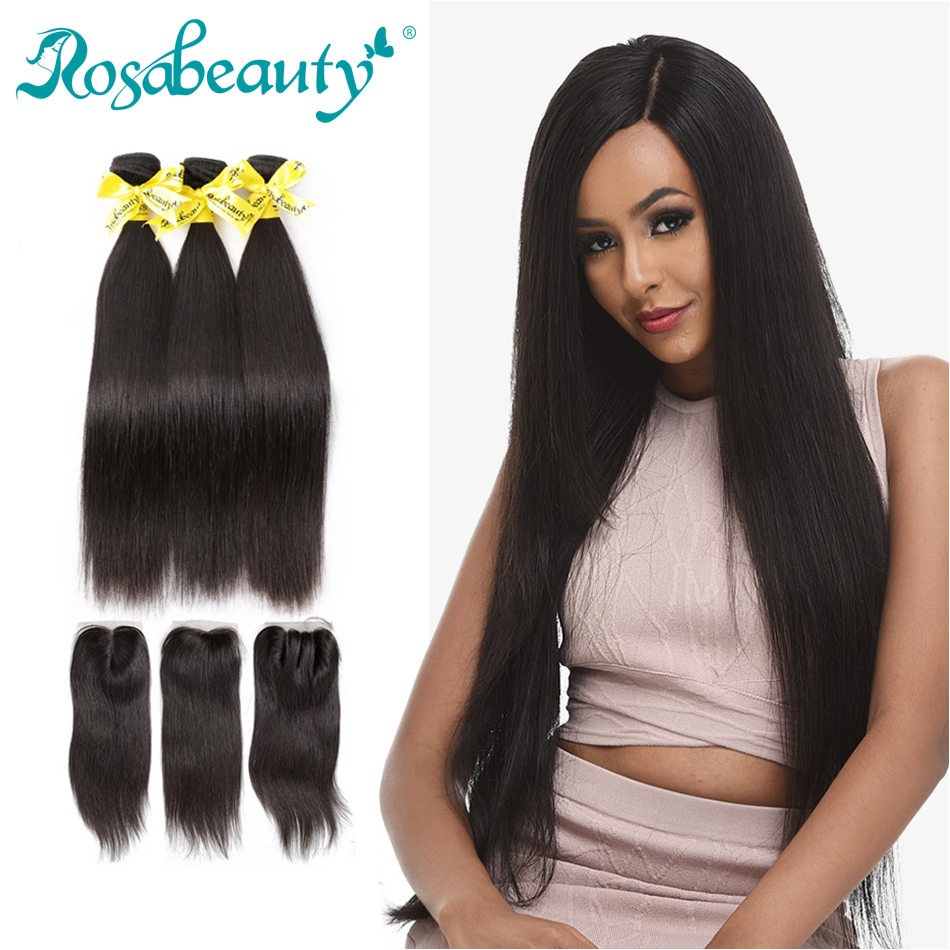 Rosabeauty 3 4 Bundles With Closure Grade 7A Brazilian Hair Weave Remy  Straight Hair 8-30Inch Bundles With Closure Shipping Free edad0ebae