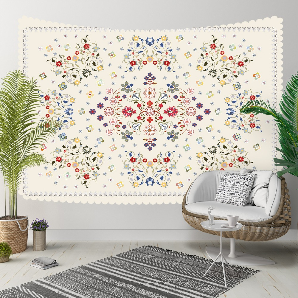 Else Cream Blue Red Tradional Turkish Ottoman Ethnic 3D Print Decorative Hippi Bohemian Wall Hanging Landscape Tapestry Wall Art
