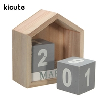 Kicute Fresh Design House Shape Perpetual Calendar Wood Desk Wooden Block Home Office Supplies Decoration Artcraft