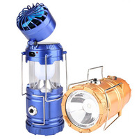 3 In 1 Function Rechargeable Solar Powered Camping Light DC Charge Flashlight Fan Lantern Outdoor Hanging