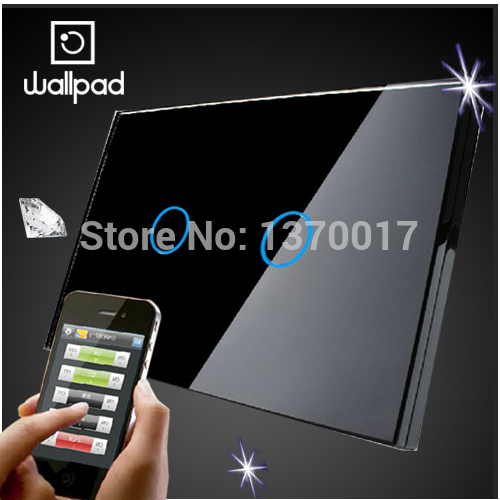 US Wallpad 2 Gang Crystal Glass Black Touch Wifi Light Switch,118  Wireless Remote control wall touch light switch,Free Shipping smart home us black 1 gang touch switch screen wireless remote control wall light touch switch control with crystal glass panel