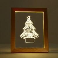 ノベルティ照明木製フレーム3dクリスマスツリースター形ナイトライトusb電源祭ホリデーパーティーランプ家の装