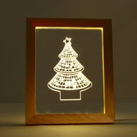 Novelty Lighting Wooden Frame 3D Christmas Tree Star Shaped Night Light USB Power Festival Holiday Party Lamp Home Decor