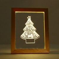 Novelty Lighting Wooden Frame 3D Christmas Tree Star Shaped Night Light USB Power Festival Holiday Party