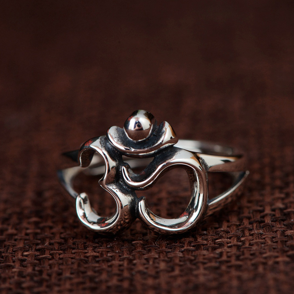 Hot sale 925 silver om Symbol Open ring for Women Yoga Rings jewelry fashion Accessories