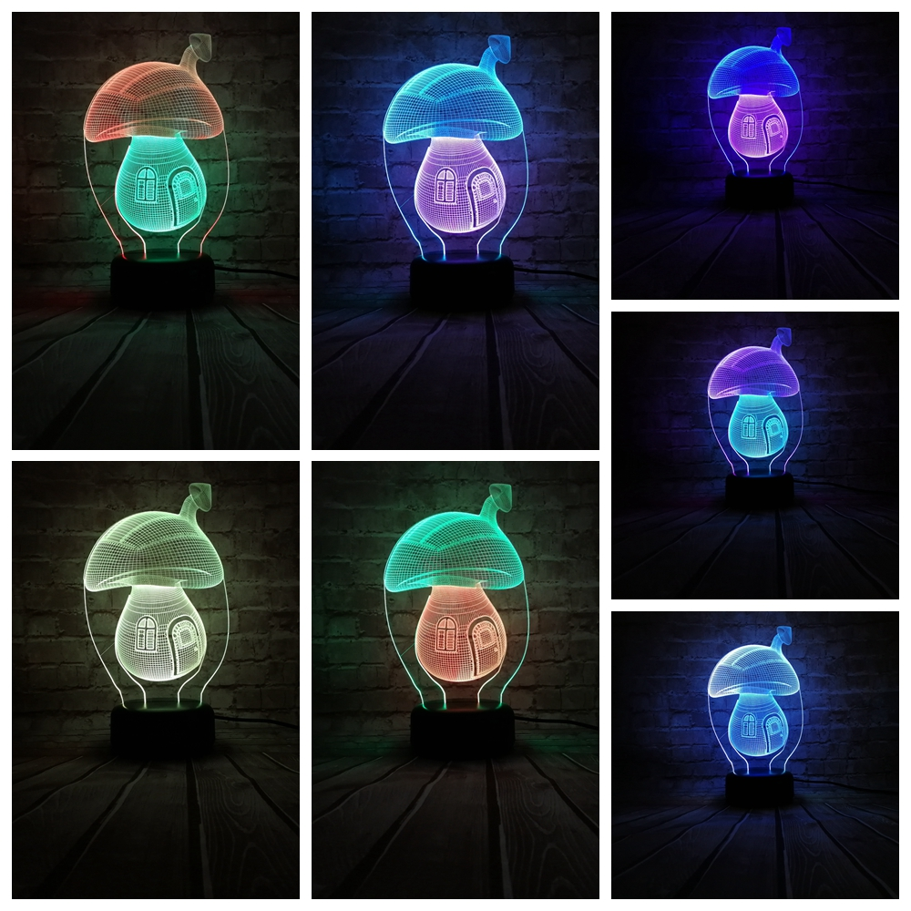 Lights & Lighting 2019 New Style New Mushroom 1 3d Light Colorful Touch Led Visual Light Creative Gift Atmosphere Desk Lamp