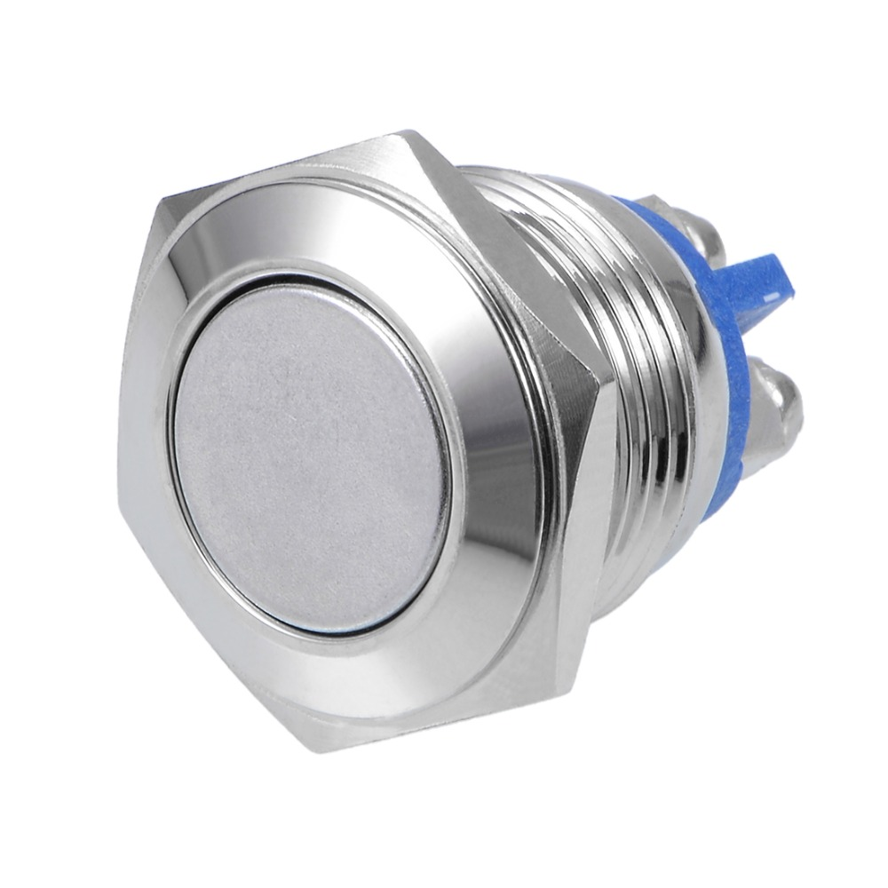 UXCELL 1 PCS Switch Momentary Stainless Steel Push Button 16mm Mounting Dia 5A 2 Screws For Power Supplies