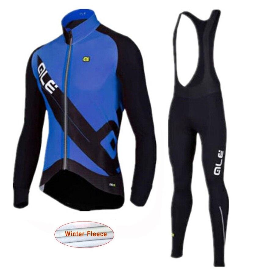 2018 Ale New Pro Team Men`s Thermal Fleece Cycling Jersey Set with Bib Short Warm MTB Bi ...