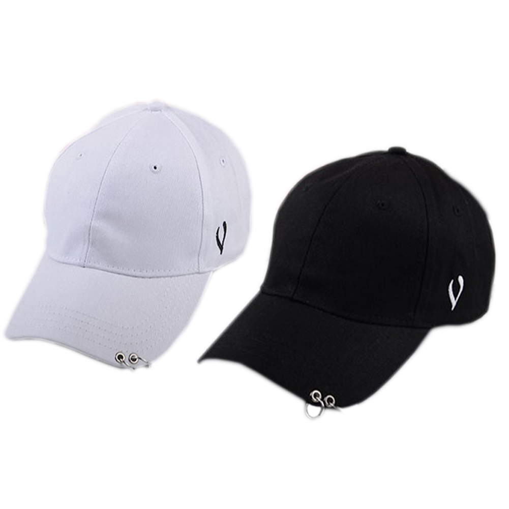 Unisex Solid Ring Safety Pin Curved Hats Baseball Cap Men Women Fashion Baseball Cap ...