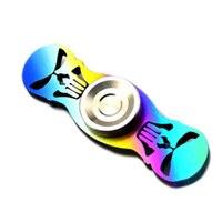 New 1Pcs Titanium Alloy TC4 Skull Handspinner Rainbow Colorful Limited Edition Fingertips EDC Hand Torque Gyro