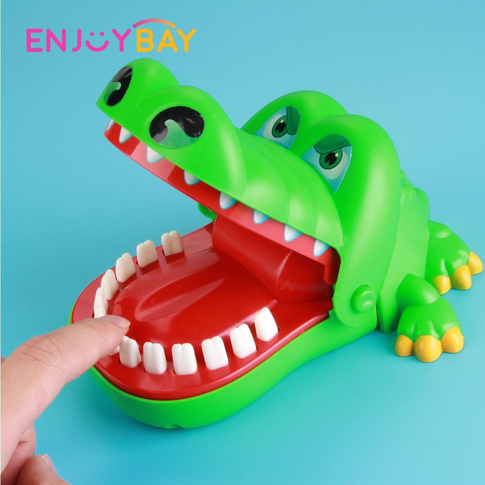 Enjoybay Large Crocodile Mouth Bite Finger Game Toys Funny Shark Bulldog Dentist Bite Finger Game Joke Toy for Kids Family Prank