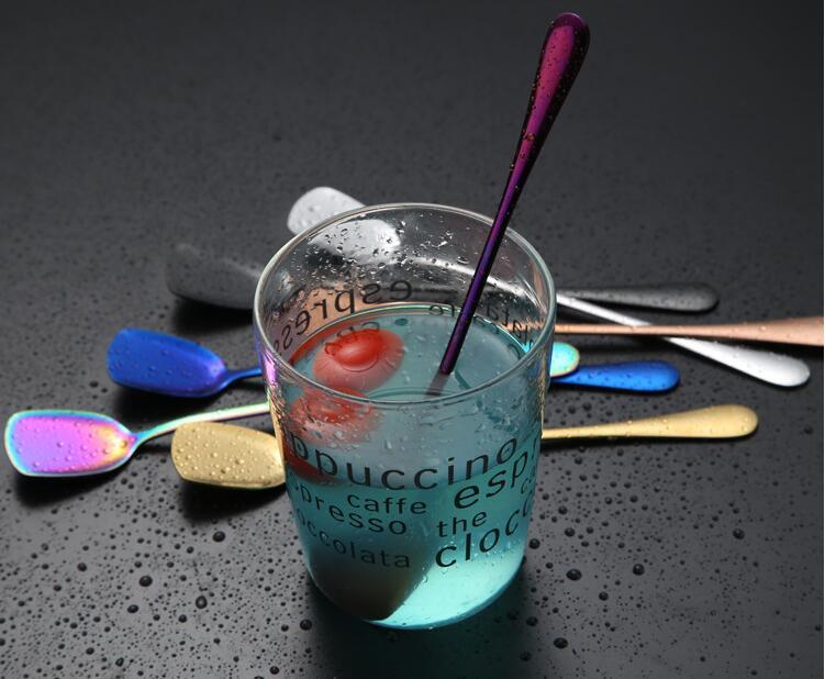 Творческий нержавеющей стали для смешивания spoon цвет Плакировкой серии тип лопатой лед совок Личность 7 цвета бар перемешать ложкой