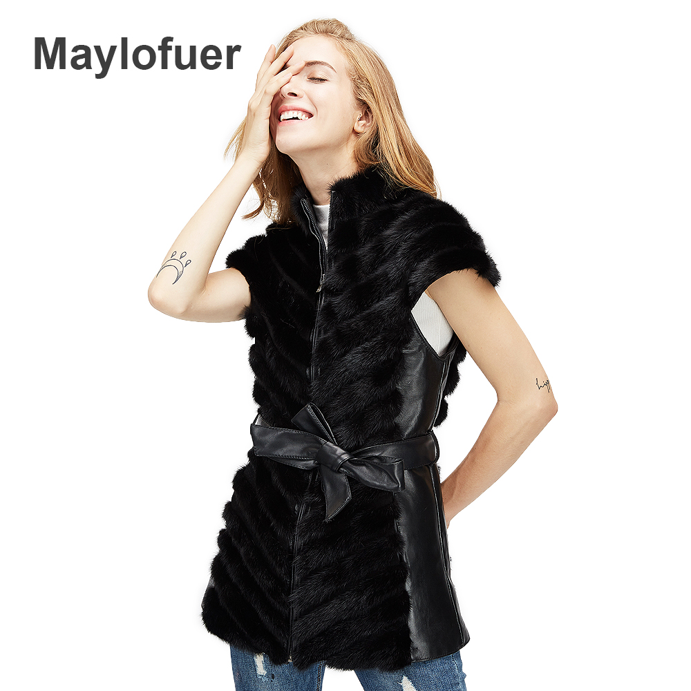 Maylofuer Fashion Women real Fur Vest Mink Fur Vests Full Pelt Winter Mink Fur Gilets New