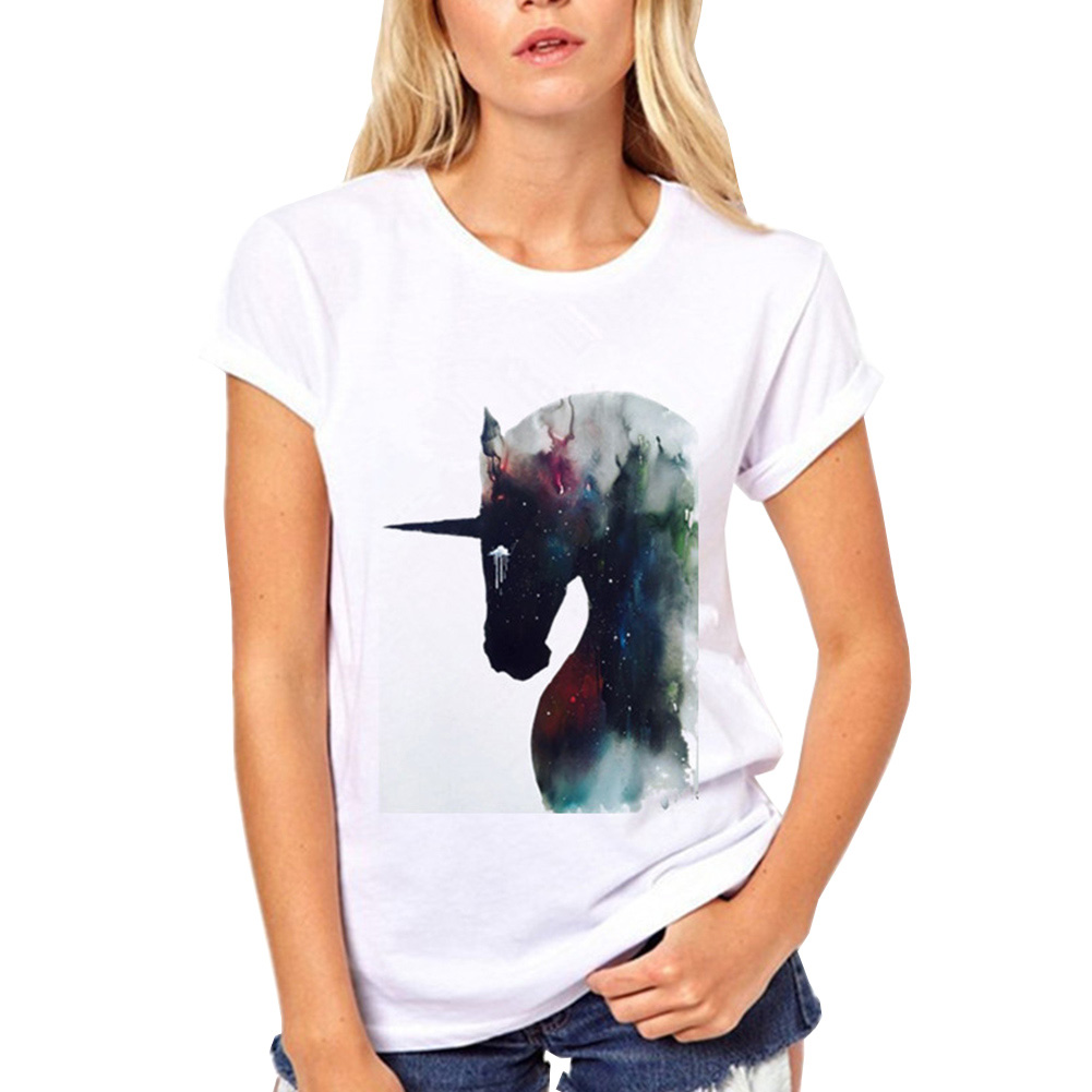 Pretty Rearing Colorful Unicorn Colorful Stars T-shirt  Women's T Shirt Kawaii Tops Womens O-Neck Tee Shirts Brand