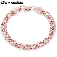 9mm Wide Womens Mens Chain Double Curb Cuban Rombo Venitian Rose Gold Filled GF Bracelet 22