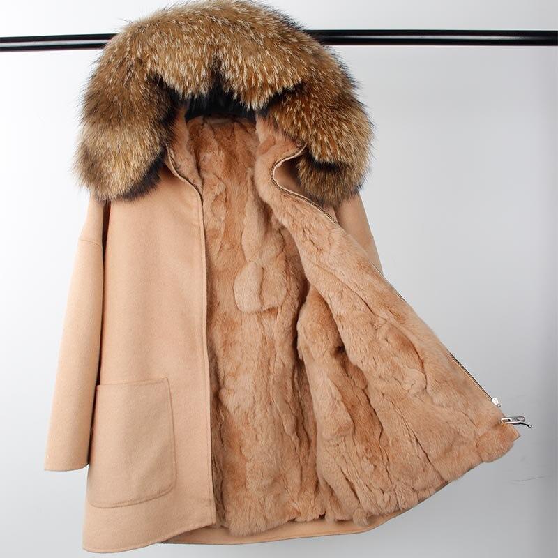 2018 Nouvelle Mode D'hiver Parka Laine Cachemire Manteau Femmes Fourrure Veste Manteau Col À Capuche Rex De Fourrure De Lapin doublure Top Qualité
