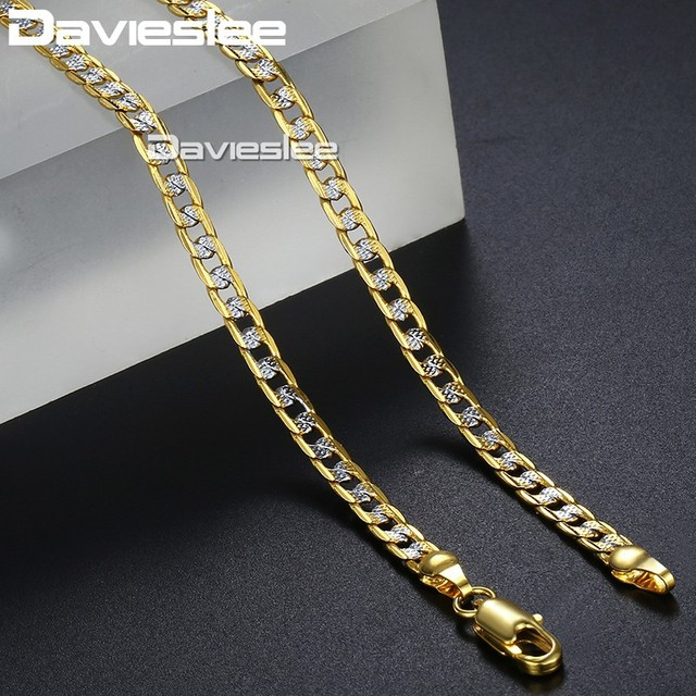 Davieslee Mens Womens Necklace Bracelet Yellow Gold Filled Chain Curb Hip Hop Je