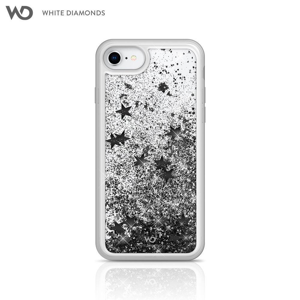Case White Diamonds Sparkle Black Stars for iPhone 8/7/6/6 S color black star kinston paper cut butterfly pattern pu leather full body case w stand for iphone 6 4 7