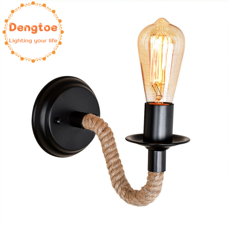 Dengtoe Industrial Retro Loft Hemp Rope Wall Lamp Metal Sconce Light for Aisle Bedroom Bedside Lamp Kitchen Island Vintage Lamp in LED Indoor Wall Lamps from Lights Lighting