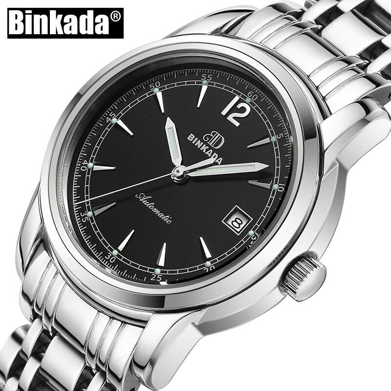BINKADA Mechanical Automatic Wristwatch Mens Unique Simple Watch Men Waterproof Casual Classic Watch reloj atinuke anna hibiscus song