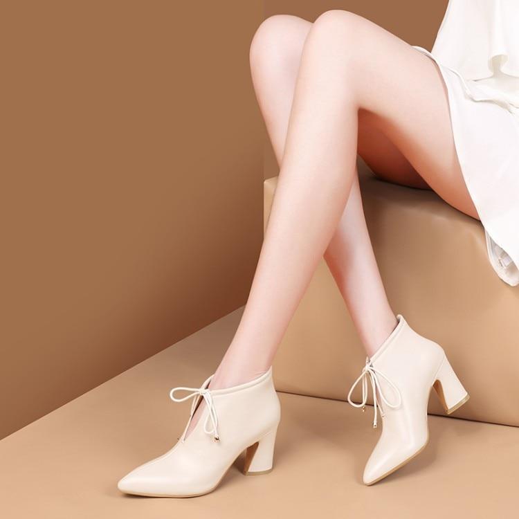 MLJUESE 2019 botas de tobillo para mujer botas de cuero de vaca cremalleras de color negro costura de encaje de invierno corto de felpa tacones altos botas de mujer size42-in Botas hasta el tobillo from zapatos    3