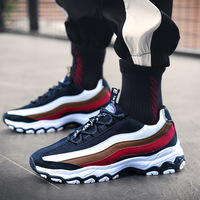 2019 New Men Chunky Sneakers Lace up Flat Casual Shoes with Platform Stylish Mixed Color Breathable Adult Male Tenis Footwear