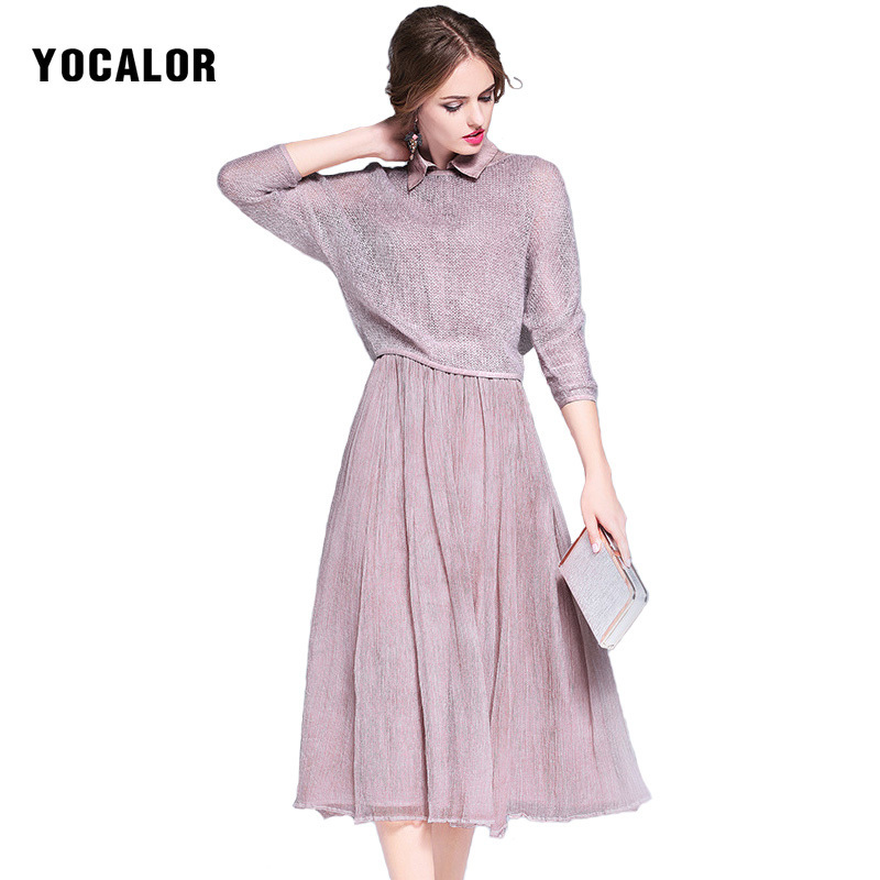 YOCALOR Brand Real Silk Dresses High Quality Elegant Cute Pink Women Natural Summer Sundress Pencil Loose Slim Simple Dress