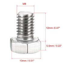 UXCELL 20Pcs Bolts M8 Thread 12/20mm 304 Stainless Steel Hex Head Screws Bolt Fasteners Hardware For Communication Equipment