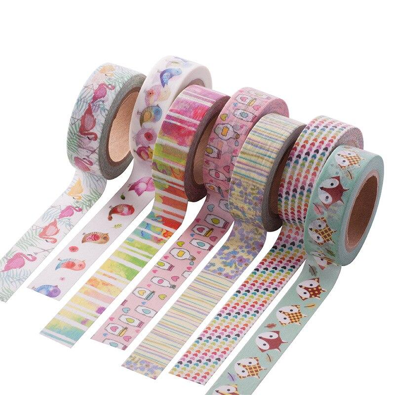 15MM*10M Cartoon Fox Washi Tape Cute Birds Pattern Masking Tape Decorative Scrapbooking Adhesive Tape
