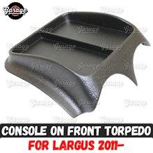 Consola en el panel frontal para Lada Largus 2011, organizador de plástico ABS, función pad, accesorios, rayones, estilismo para coche