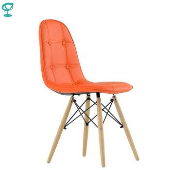 95628 Barneo N-43 Eco-Skin Wood Kitchen Breakfast Interior Stool Bar Chair Kitchen Furniture Orange free shipping in Russia