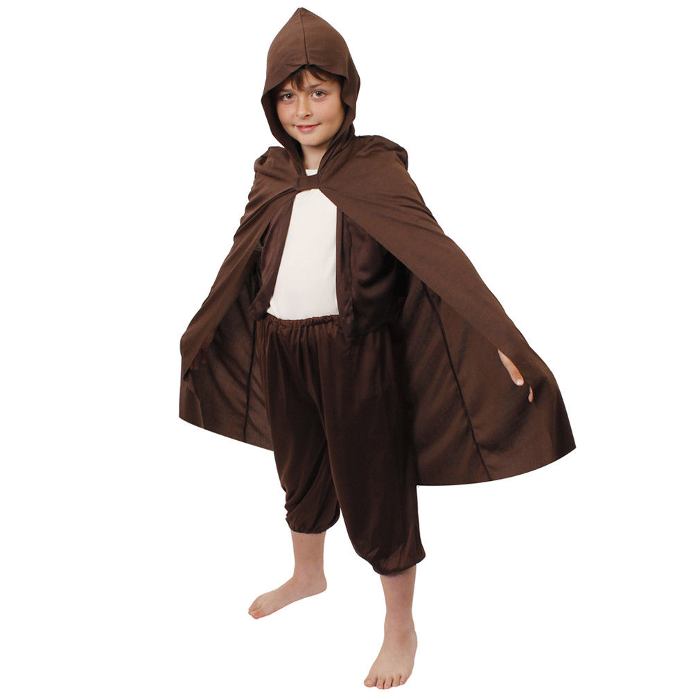 CHILDS HOBBIT BROWN HOODED CAPE SUPERHERO KIDS BOOK WEEK FILM CHARACTER COMIC HALLOWEEN FANCY DRESS COSTUME COSPLAY HEROES BOY