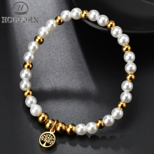 HOBBORN Classic Life Tree Bracelet Women Gold Color Stainless Steel of Jewelry Cute Imitation Pearl Bracelets Female
