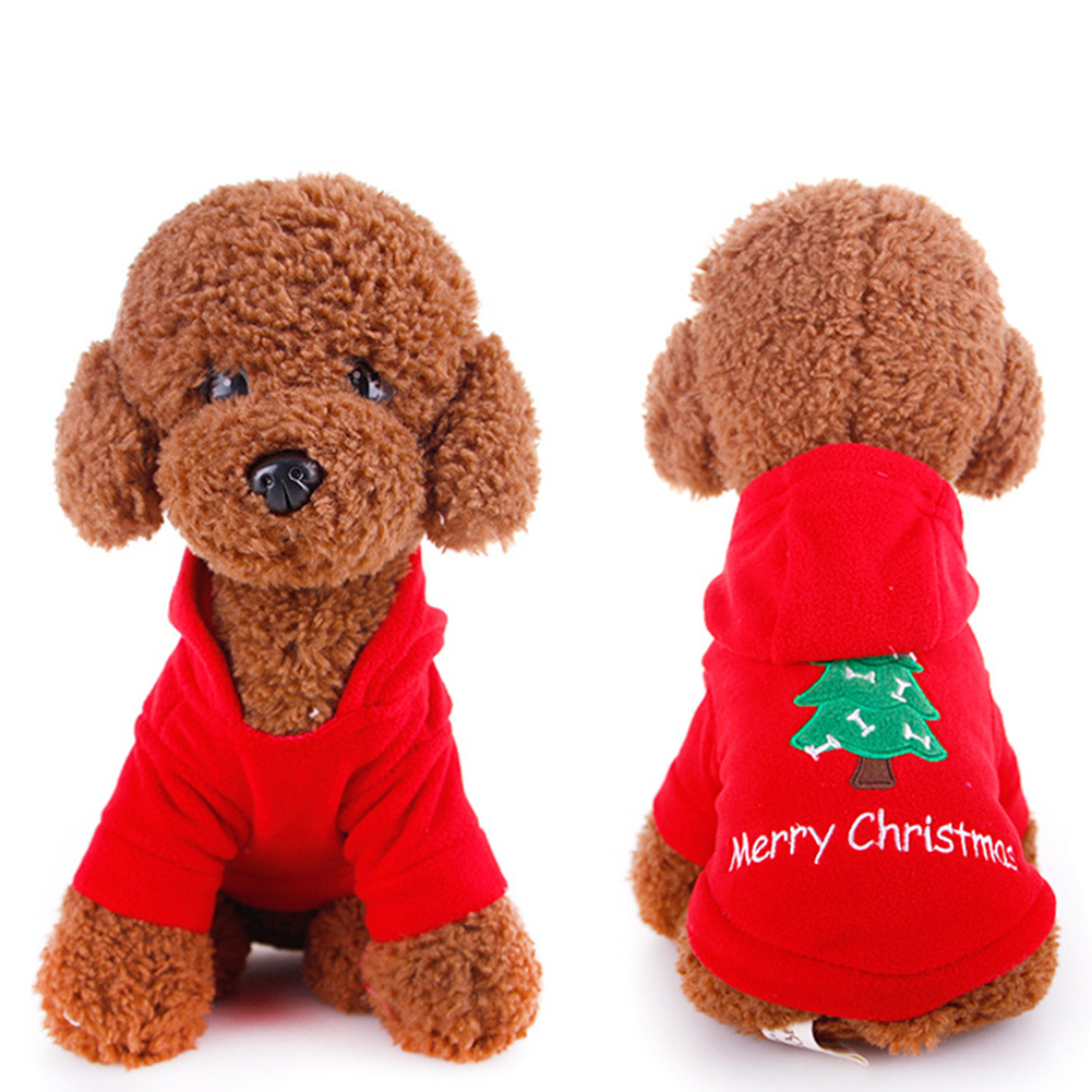 TINGHAO Cute Puppy Pet Christmas Tree Design Hooded Sweatshirt Costume Xmas Dog Apparel