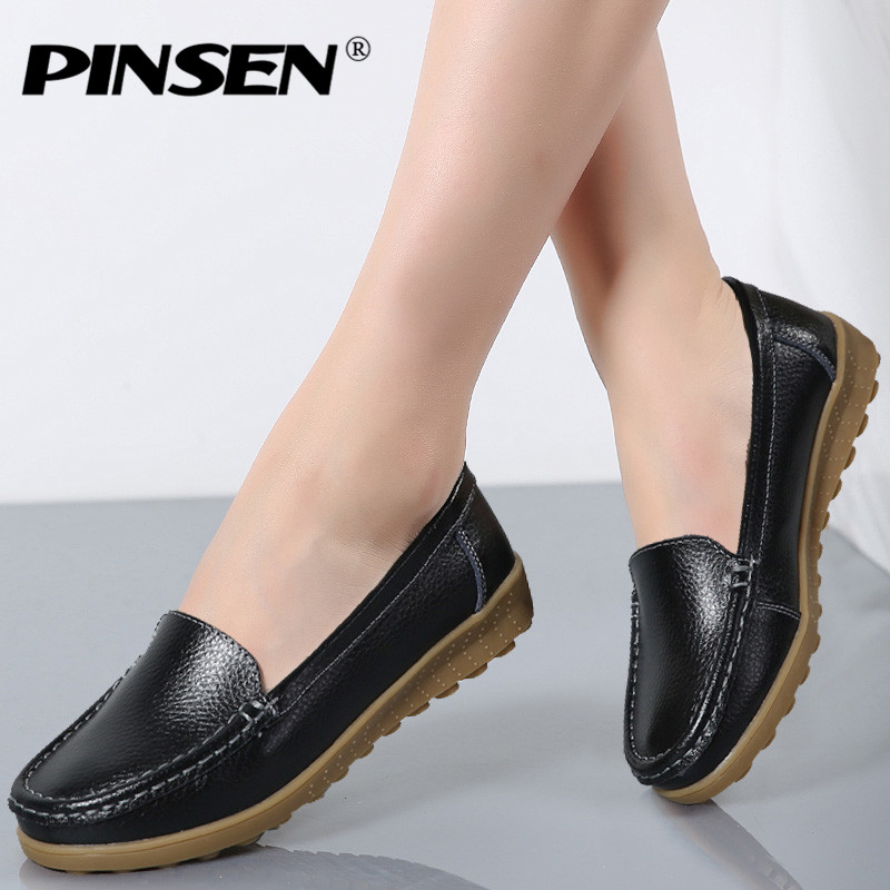 PINSEN Spring Women Genuine Leather Ballet Flats Casual Shoes Round Toe Slip on Flats Female Loafers Ballerina Flats Boat Shoes nayiduyun women genuine leather wedge high heel pumps platform creepers round toe slip on casual shoes boots wedge sneakers