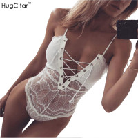 2017 Sexy Lace Bodysuit Hugcitar Women Skinny Lace Up V Neck Bodysuits Hollow Out Rompers Womens