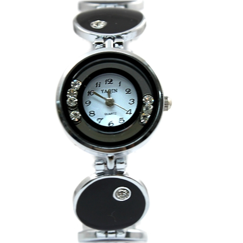 Черные эмалированные часы с белым циферблатом женские часы-браслет YAQIN Кристальные женские часы