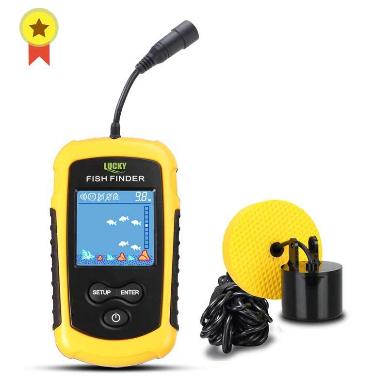 Russian Manual! FFC1108-1 Hot Sale Alarm 100M Portable Sonar LCD Fish Finders Fishing lure Echo Sounder Fishing Finder