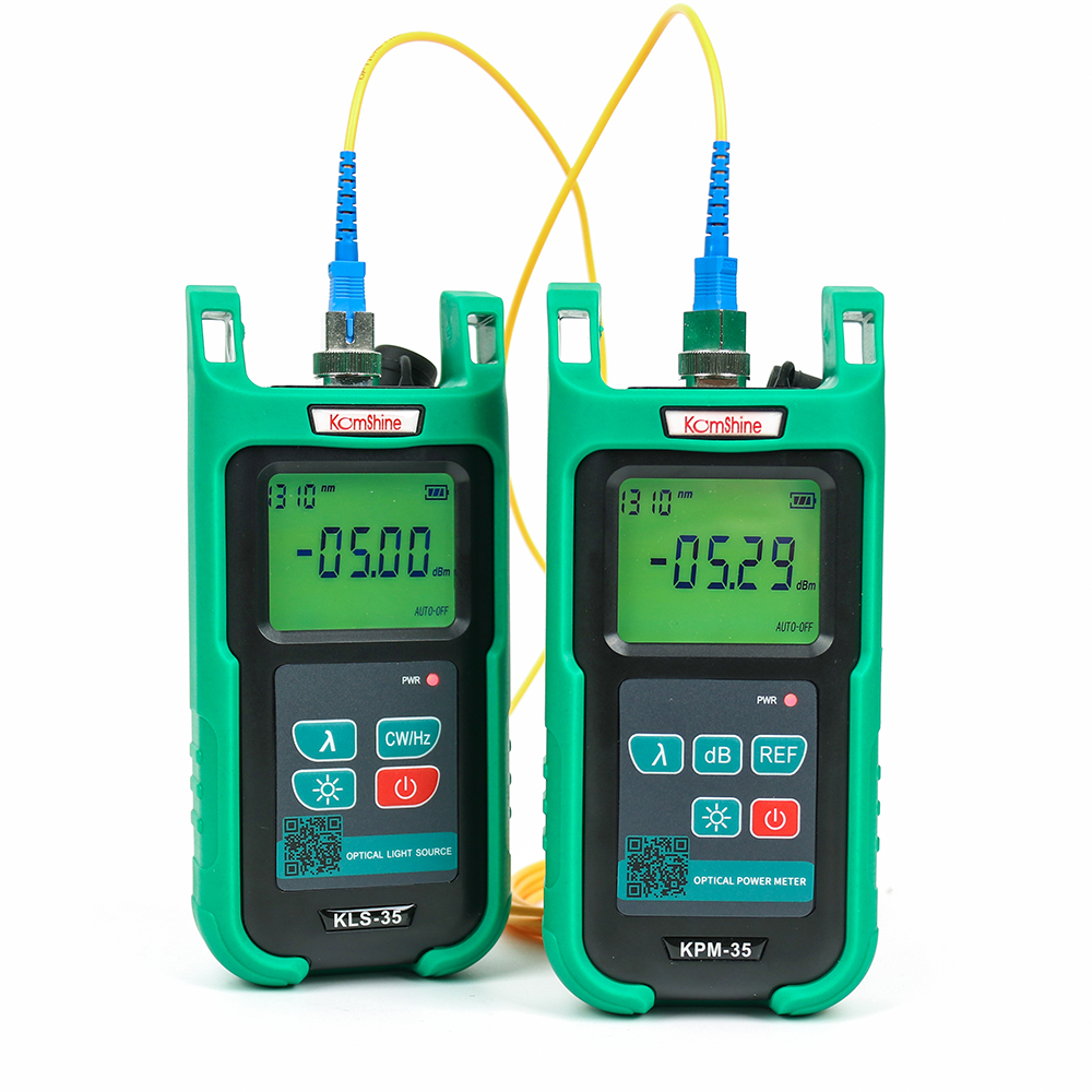 Optic Fiber Power Meter KomShine KPM-35 FTTH Fiber Cable Tester And Singlemode Fiber Optical Light Source KLS-35