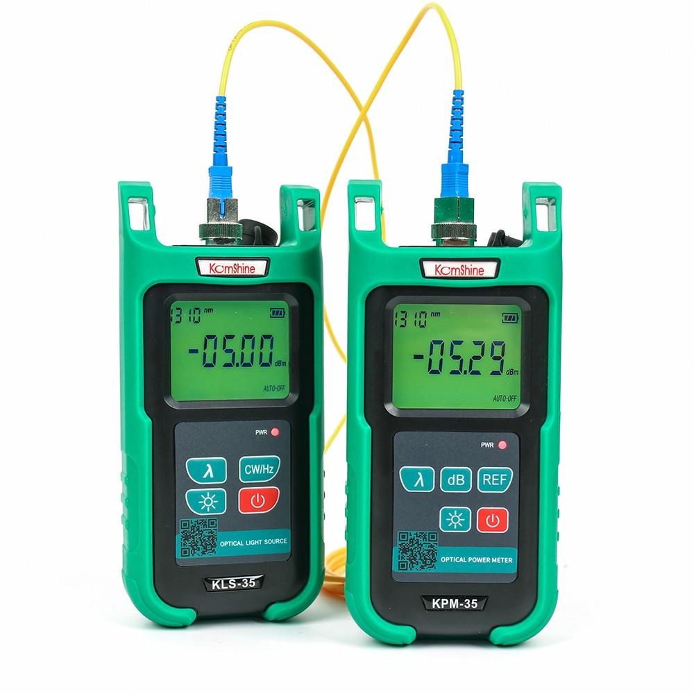 Optik fiber güç ölçer KomShine KPM-35 FTTH fiber kablo test cihazı ve Singlemode Fiber optik işık kaynağı KLS-35